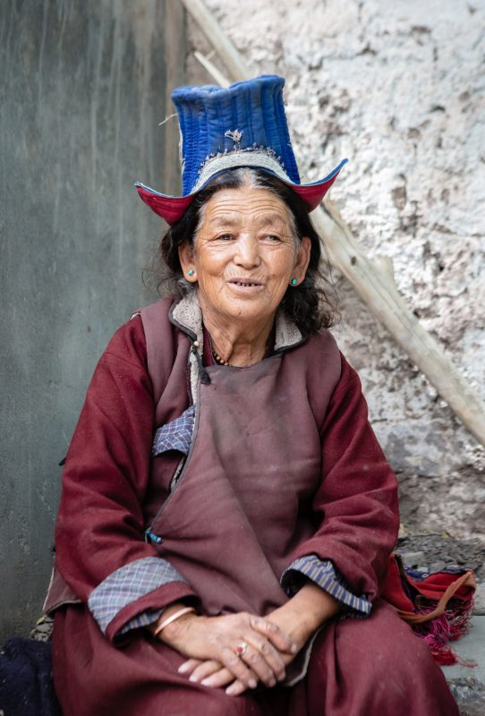 Local Ladakhi lady in traditional dress at the Alchie local Markets
