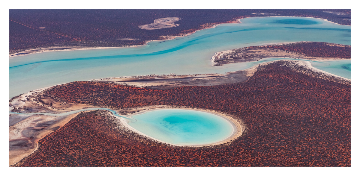 Aerial photo of lagoons in Shark Bay