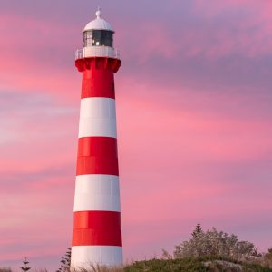 Point Moore Lighthouse photo at sunset with a pink sky