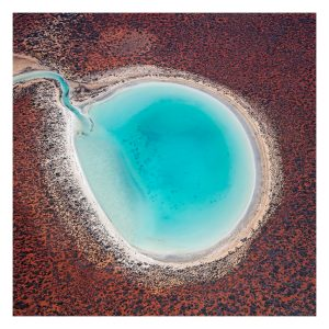 An aerial photo of a lagoon in the Shark Bay National Park World Heritage region