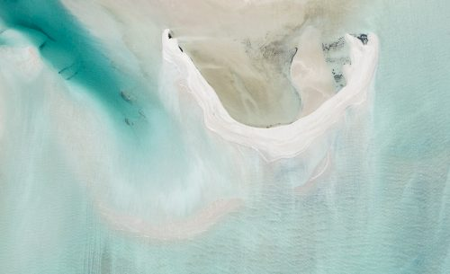 An aerial photo of the coast in the Shark Bay National Park World Heritage region