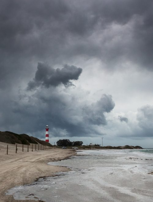 Landscape photograph of Point Moore Lighthouse in a storm, Geraldton