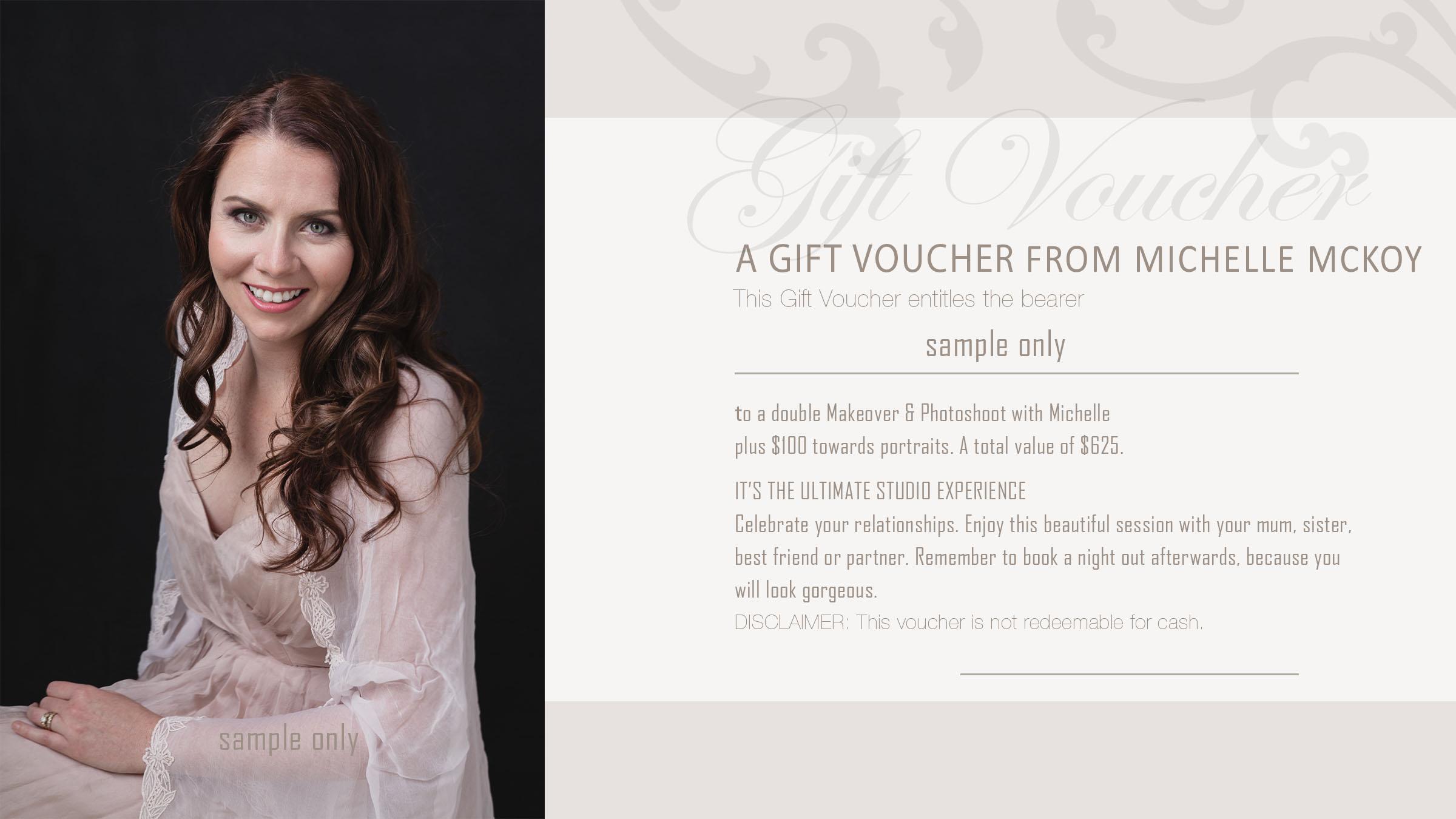 Women's glamour portraits Geraldton gift voucher